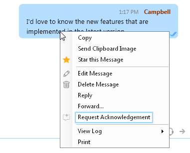 OutputMessenger Enable Acknowledgement Request