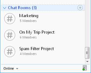 Output Messenger Chat Room List