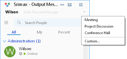 Output Messenger Custom Status List