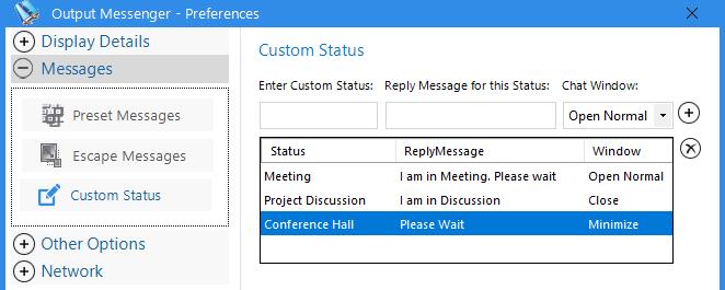 Instant Messenger Custom Status