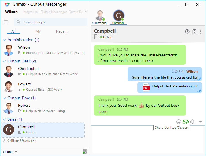 Output Messenger Desktop Sharing