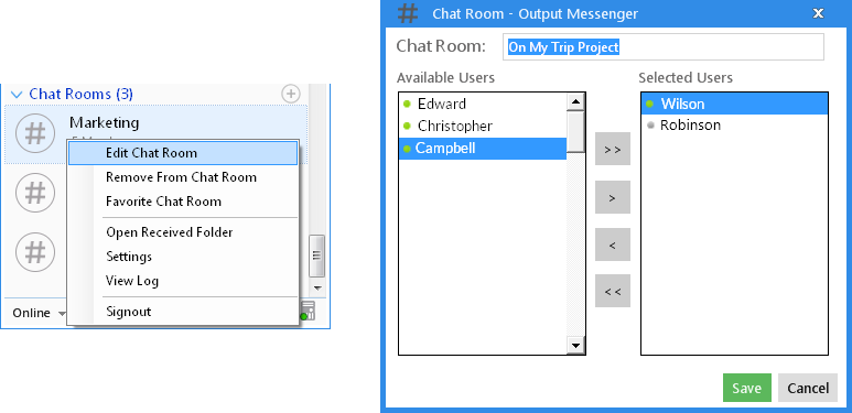 Output Messenger Edit Chat Room
