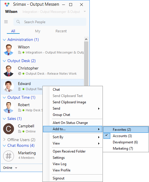 Instant Messenger Add Favorite User