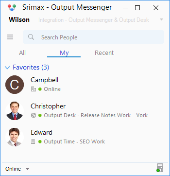 Output Messenger Favorite List