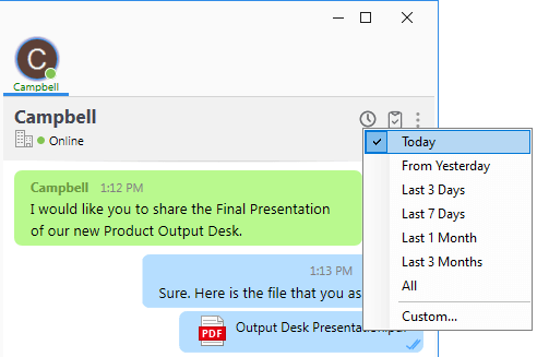 Output Messenger File Transfer Log