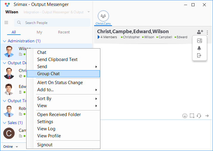 Output Messenger Add User