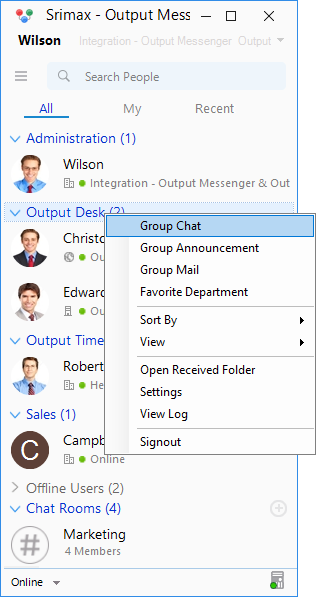 Output Messenger Group Chat