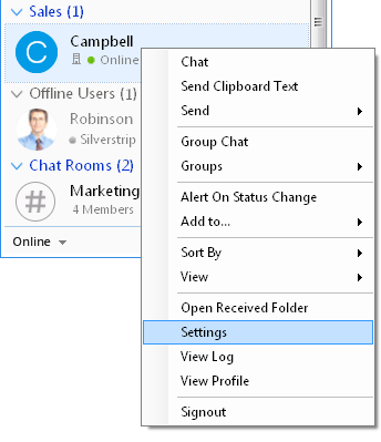 Output Messenger Settings