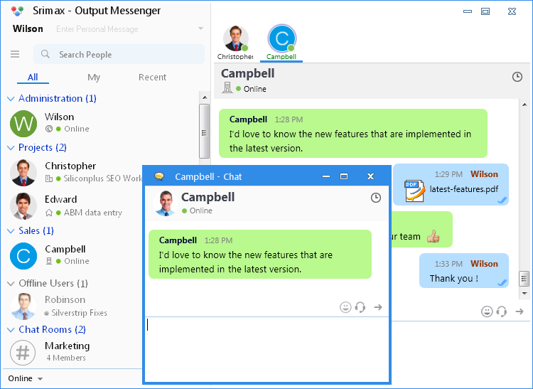 Output Messenger|Lan Messenger for Windows|Downloads