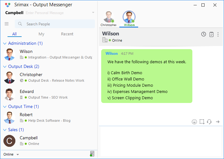 Output Messenger Share Notes