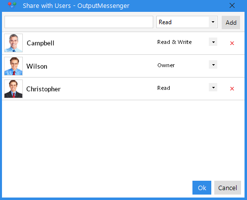 Output Messenger Notes_share with users