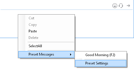 Set Preset Message from Chat Window Typing Area