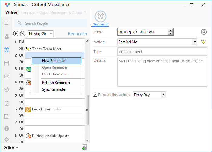 Output Messenger Reminder Shortcut