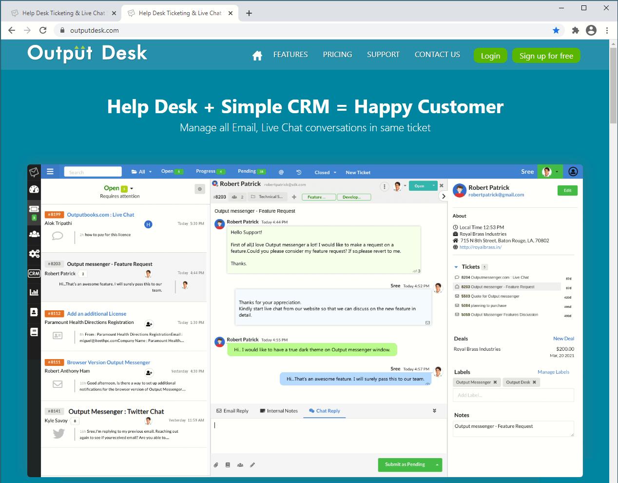 Output Messenger Open URL