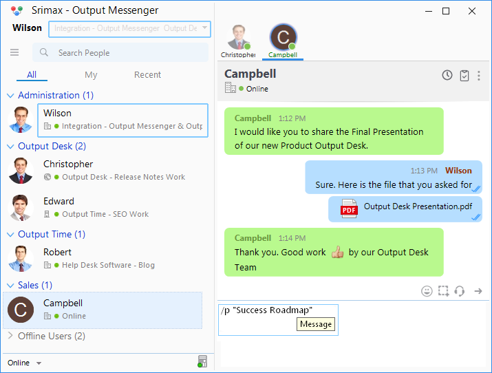Output Messenger Personal Status