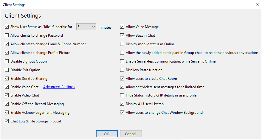 Output Messenger Centralized Client Setting