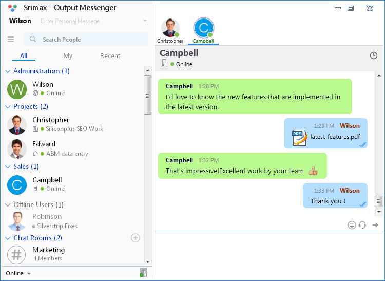Chat with Output Messenger
