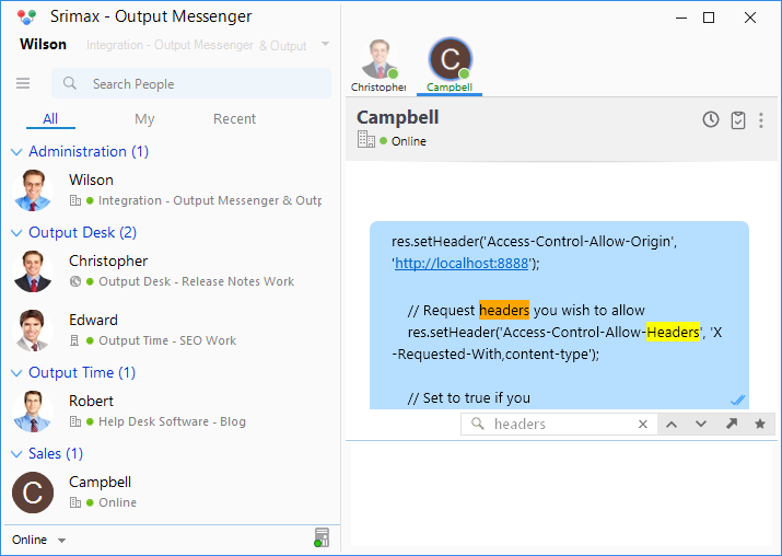 Output Messenger History Search