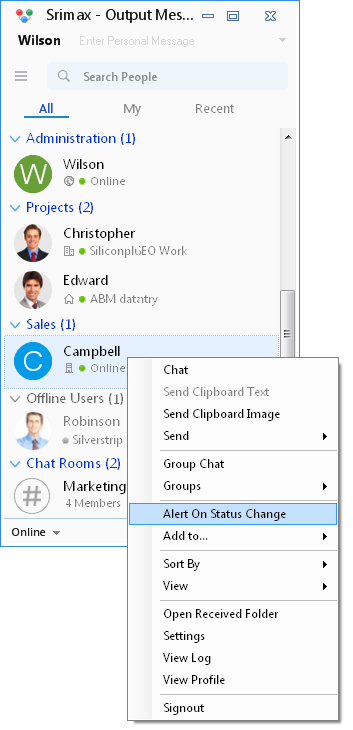 Output Messenger Alert on Status Change