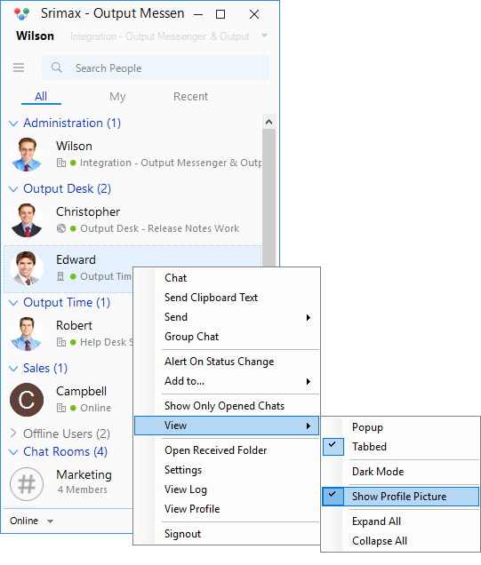 Output Messenger Show Profile