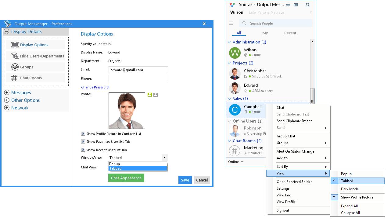 Output Messenger Customizing Window View