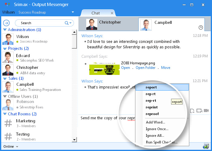 Output Messenger Spell Check