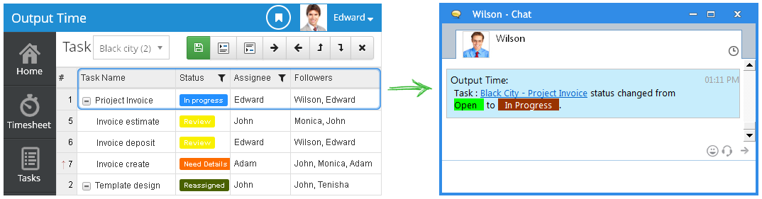 outputtime task status change open to inprogress