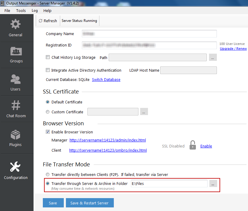Output Messenger File Transfer Modes