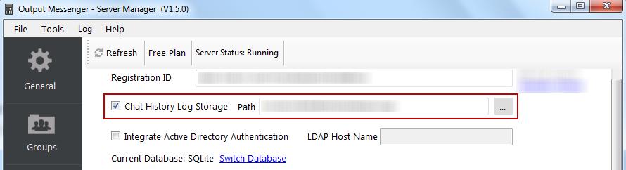 Output Messenger Server - Chat History Log Storage